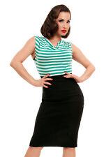 Wiggle Dress - Pencil Dress 1960s style - Teal Mint Greean Stripe Wedding Date