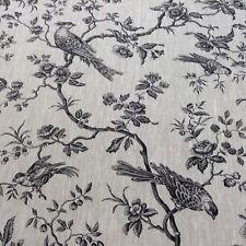 Français 100% lin Oiseau Jardin Toile Rideau/CRAFT/upholsterty tissu noir