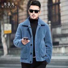 Men's Lapel Lamb Suede Jacket Cashmere Padded Coat Button Slim Fit Winter Warm