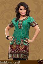 New Indian Designer Fitted Printed Green Crepe Silk KurtisTunicTop Women Kurti