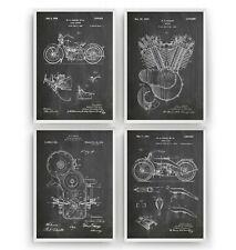 Harley Davidson Patent Art Prints - Set Of 4 - Poster Wall Decor Gift - Unframed