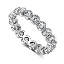 Creative Women Round Cut White Sapphire 925 Silver Ring Size 6-10