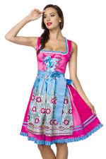 Premium Dirndl ausgefallenes Dirndl mit Schürze  blau pink Oktoberfest Trachten