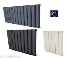 Horizontal Aluminium radiador Oval Columna Baño Calentador-Blanco & Negro Y Gris