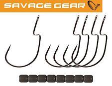 Savage Gear 4Play Weedless Hook 5 Haken + Tungsten Beads, Haken für Gummifische