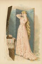 ANTIQUE VICTORIAN WOMAN PINK DRESS LONG BLONDE HAIR MIRROR VANITY COLOR PRINT