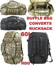 KOMBAT UK ARMY 60L OPERATOR DUFFLE KIT BAG ASAULT RUCKSACK HOLDALL BLACK BTP MTP