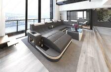 Leather Sofa WAVE U-shaped LED Relax Design Corner couch Megasofa grey-white