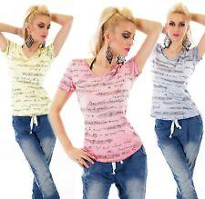 ITALY Damen V-Neck Shirt Top T-Shirt Kurzarm Schriftzug Glitzer Effekt 36 38 40