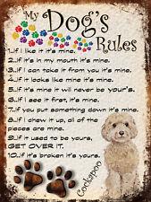 MY DOG'S RULES RETRO STYLE METAL TIN SIGN/PLAQUE COCKAPOO THEME