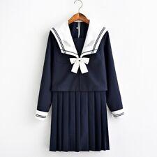 Japanese School JK Uniform Girls Sailor Blouse Shirt & Pleated Skirt Outfit