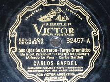 TANGO 78 rpm RECORD Victor CARLOS GARDEL Sus ojos se cerraron ARGENTINA Guitarra