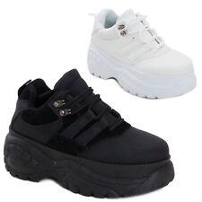 Scarpe donna sneakers alte zeppa flatform eco pelle sportive doppio fondo Q-8