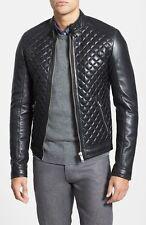 New Men Genuine Lambskin Leather Jacket Slim fit Biker Motorcycle jacket LL#35