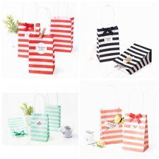 Cross Stripe Paper Party Loot Bags Handles Wedding Birthday Gift Bags 10PCS