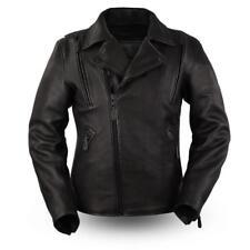 First Mfg Mens Night Rider Motorcycle Jacket Black Platinum Leather Cowhide
