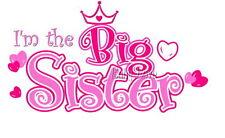 IRON ON TRANSFER BIG SISTER PRINCESS HEART PINK 16x9cm