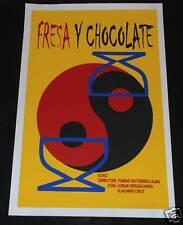 "1999 Cuban Movie Poster.Plakat.Affiche.affisch""Fresa y Chocolate""SIGNED! art"