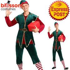 K946 Mens Velvet Elf Christmas Santa Workshop Helper Xmas Fancy Dress Up Costume