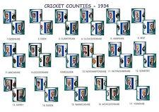 CRICKET 1934..ENGLISH COUNTIES..MUGS.17  DESIGNS.NEW.BNIB