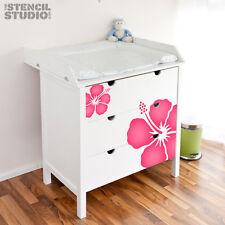 PLANTILLAS, Simple Hibisco Flor, reutilizable pared estarcido, No Un