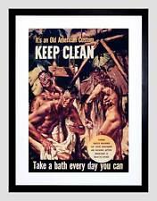 WAR WWII CLEAN HEALTH BATH SHOWER SOLDIER BLACK FRAMED ART PRINT B12X6122