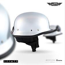 MOTO D33 CHROME CASCO DEMI-JET SCOOTER CASCHI PILOT HELMET VINTAGE S M L XL XXL