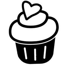 Sticker Cuisine Gateau Cupcake Glaçage Simple Coeur dessert (CUISINE075)