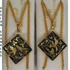 Damascene Gold Diamond Shape Bird Design Pendant Necklace by Midas of Spain 2253