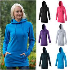 Ladies Girls Longline Hoodie Hoody Sweatshirt Womens Long Line Longer Length