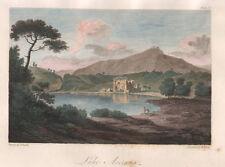 1830 Averno, (Campi Flegrei) Napoli bulino acquarellato