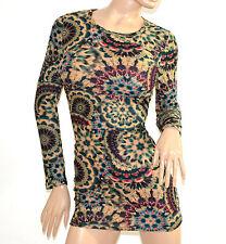 MAGLIETTA LUNGA donna maglia maxi pull verde beige fucsia viola manica lunga A14