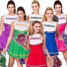 Onorevoli Cheerleader VESTITO CON POM POMS HIGH SCHOOL COSTUME FANTASIA GALLINA
