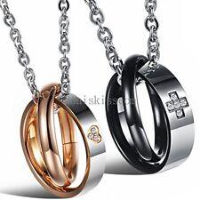 Stainless Steel Love Heart Cross w CZ Interlocking Rings Pendant Necklace Lovers
