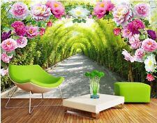 3D Fleur Vert 552  Photo Papier Peint en Autocollant Murale Plafond Chambre Art