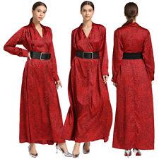 Leopard Long Dress Women V-Neck Maxi Party Abaya Muslim Kaftan Dubai Jilbab Robe