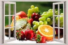 Tropical Fruit Basket 3D Window View Decal WALL STICKER Home Decor Art Mural