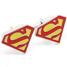 Mens Pair of Novelty Red Yellow Superman Cufflinks Super Hero UK Seller