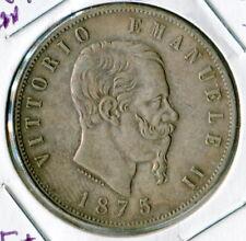Italy 1875M Silver 5 Lire