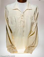 Medieval Renaissance Pirate Shirt Men's Ecru 100% Cotton Laced Front Shirt