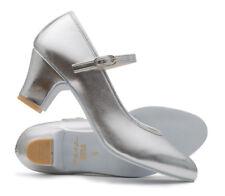 "Ladies Silver Metallic PU Suede Sole Ballroom Jive Cerco Showtime Shoes Katz 2"""