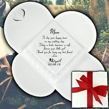 Personalised Wedding Handkerchief Favour Gift Hearts Bridesmaid Mother of Bride
