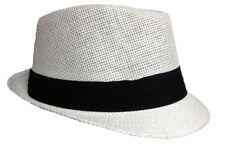 FEDORA TRILBY GANGSTER FEDORA BUCKET HAT MEN WOMEN PAPER STRAW HAT CAP