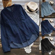 Damen Mode Langarm Beiläufig Bequem Knopf Shirt Bluse Tops Jeanshemd Oversize