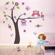 WANDTATTOO Happy Eulenbaum Eulen Baum Blüten Schmetterling Wandsticker