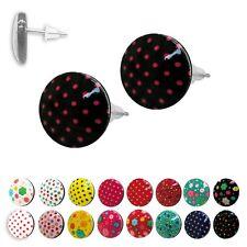 1 Paar süße Ohrstecker mit Punkten Blumen rockabilly dots rot weiß schwarz