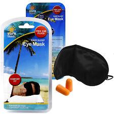 Sûr de voyage Black-out confort sommeil repos Enfiler Masque yeux ombre + bouchons d'oreille