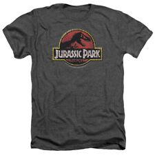 Jurassic Park Stone Logo Mens Heather Shirt CHARCOAL