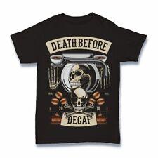 Death Before Decaf Tshirt funny cartoon S-3XL