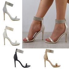 Womens Diamante Ankle Strap Heels Ladies Sparkly Stiletto Peeptoe Party Sandals